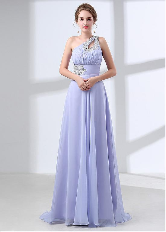 BohoProm Bridesmaid Dress Modest Chiffon One Shoulder Neckline A-line Bridesmaid Dresses With Beaded Appliques BD028