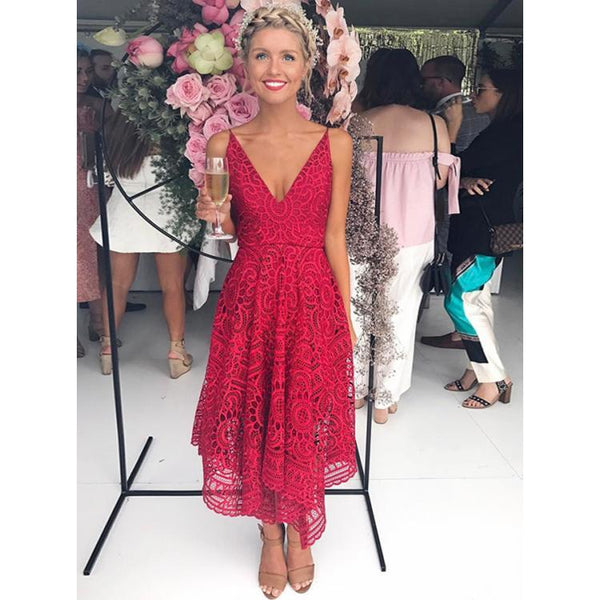 BohoProm Bridesmaid Dress Outstanding Lace Spaghetti Straps Neckline Tea-length A-line Bridesmaid Dresses BD089