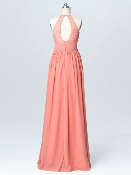 BohoProm Bridesmaid Dress Popular Chiffon Halter Neckline Cut-out Sweep Train A-line Bridesmaid Dresses With Appliques BD004