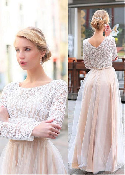 BohoProm Bridesmaid Dress Popular lace & Tulle Scoop Neckline Floor-length A-line Bridesmaid Dresses BD023
