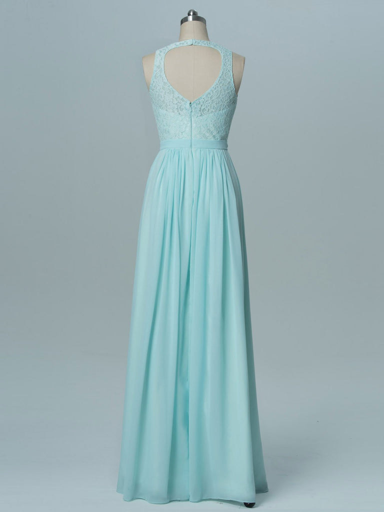 BohoProm Bridesmaid Dress Romantic Chiffon Scoop Neckline Cut-out A-line Bridesmaid Dresses With Appliques BD002