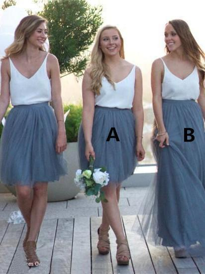 BohoProm Bridesmaid Dress Romantic Chiffon & Tulle V-neck Neckline A-line Bridesmaid Dresses BD085
