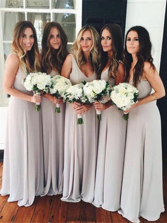 BohoProm Bridesmaid Dress Romantic Chiffon V-neck Neckline Sweep Train A-line Bridesmaid Dresses BD079