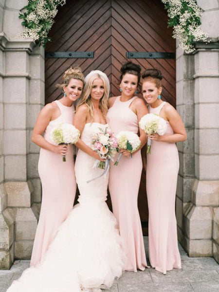 BohoProm Bridesmaid Dress Sheath High-Neck Floor Length Satin Blush Pink Bridesmaid Dresses HX006