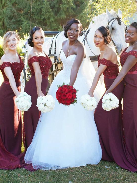 BohoProm Bridesmaid Dress Sheath Off-Shoulder Floor-Length Satin Burgundy Bridesmaid Dresses HX004