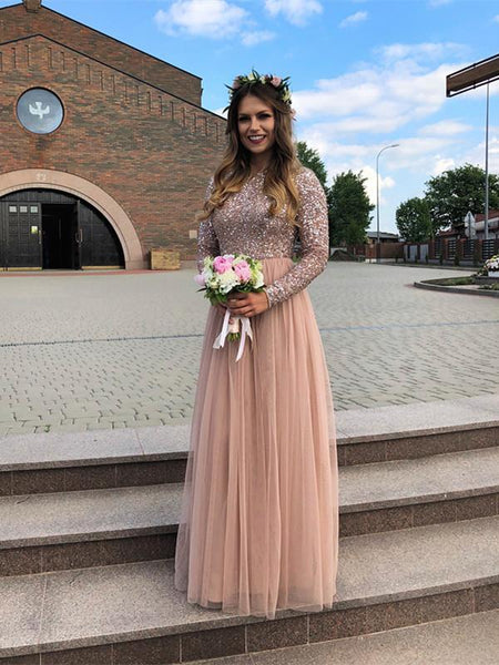 BohoProm Bridesmaid Dress Shining Tulle Jewel Neckline Floor-length A-line Bridesmaid Dresses BD066