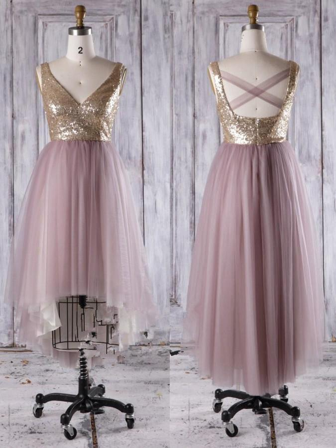 BohoProm Bridesmaid Dress Shining Tulle V-neck Neckline Hi-lo Length A-line Bridesmaid Dresses With Sequins BD020