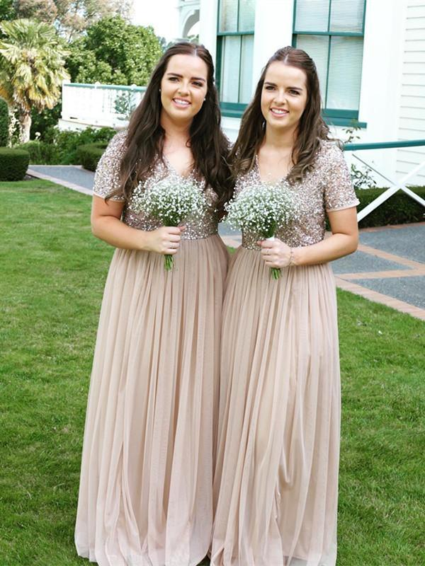 BohoProm Bridesmaid Dress Sparkly Tulle V-neck Neckline A-line Bridesmaid Dresses With Sequins BD065