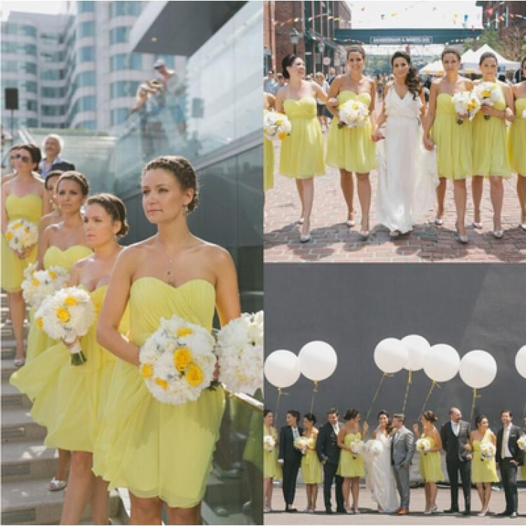 BohoProm Bridesmaid Dress Sweet Chiffon Sweetheart Neckline Short Length A-line Bridesmaid Dresses BD052