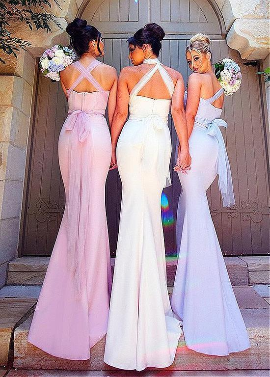 BohoProm Bridesmaid Dress Unique Chiffon Sweetheart Neckline Sheath Bridesmaid Dresses With Belt BD027