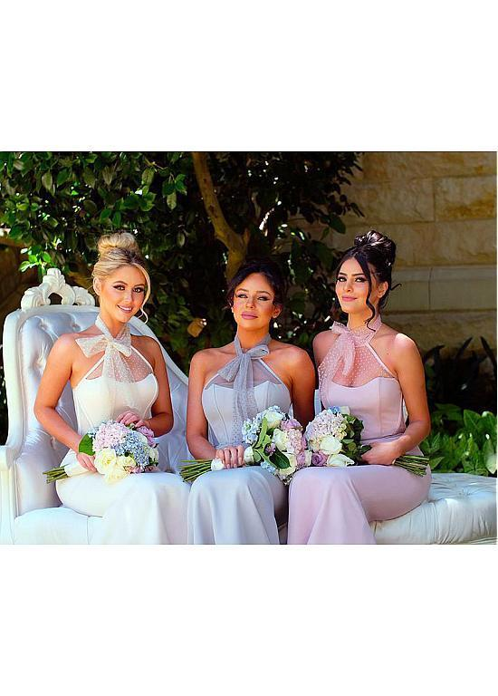 BohoProm Bridesmaid Dress Wonderful Acetate Satin Halter Neckline Sheath Bridesmaid Dresses BD030