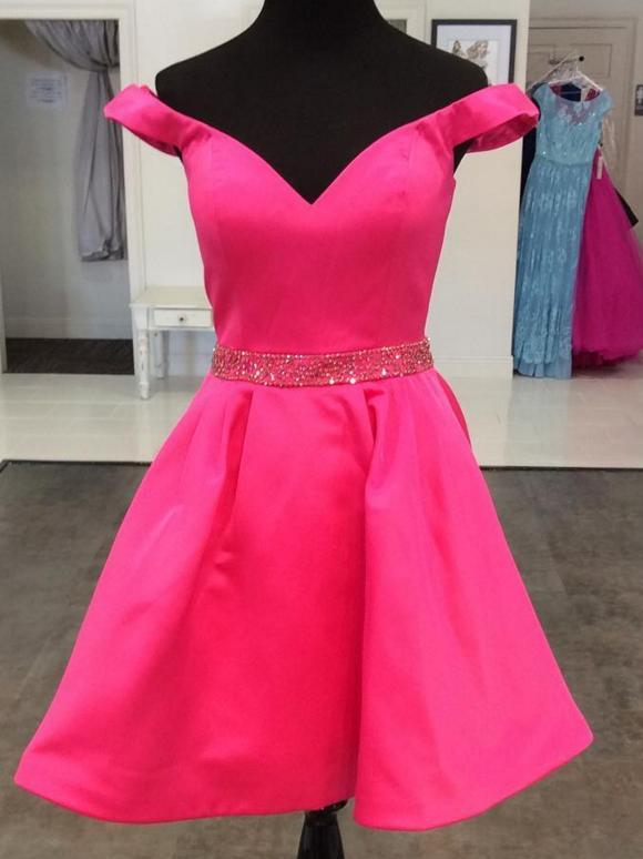 BohoProm cocktail dress Modern Satin Off-the-shoulder Neckline A-line Cocktail Dresses With Beadings CD002