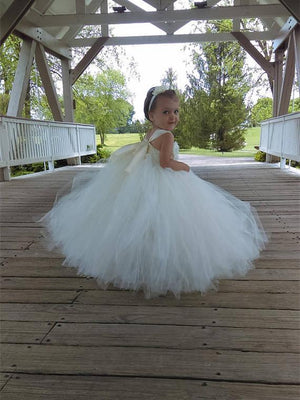 BohoProm Flower Girl Dresses Alluring Tulle Square Neckline Floor-length Ball Gown Flower Girl Dresses FD013