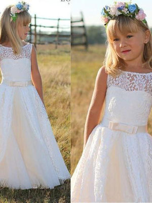 BohoProm Flower Girl Dresses Beautiful Lace Bateau Neckline Floor-length A-line Flower Girl Dresses FD048