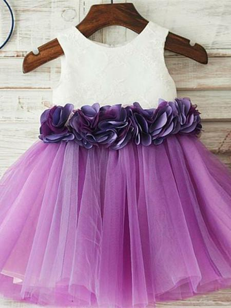 BohoProm Flower Girl Dresses Beautiful Lace & Tulle Jewel Neckline A-line Flower Girl Dresses With FD075