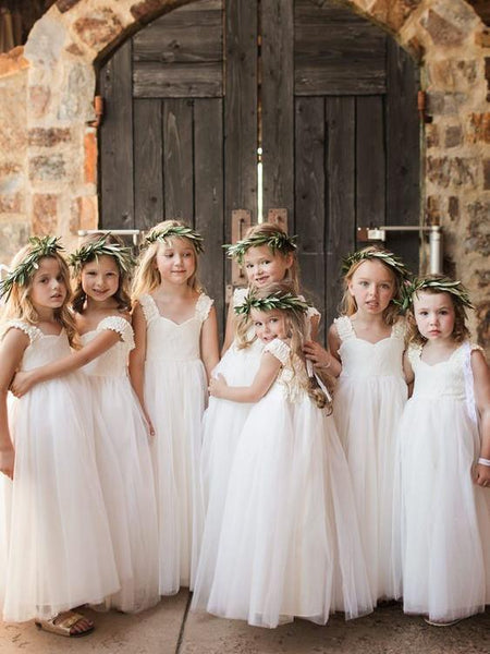 BohoProm Flower Girl Dresses Beautiful Lace & Tulle V-neck Neckline Floor-length A-line Flower Girl Dresses FD070