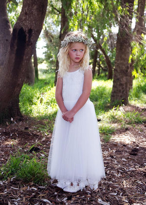 BohoProm Flower Girl Dresses Beautiful Tulle & Lace Scoop Neckline Floor-length A-line Flower Girl Dresses FD011