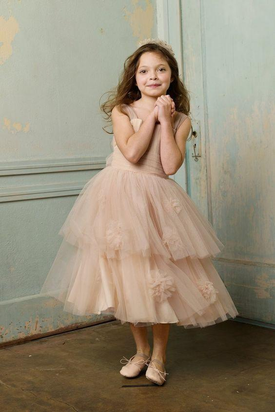 BohoProm Flower Girl Dresses Charming Tulle Square Neckline Ankle-length A-line Flower Girl Dresses FD036