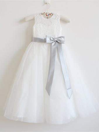 BohoProm Flower Girl Dresses Chic Lace & Tulle Jewel Neckline Floor-length A-line Flower Girl Dresses FD063