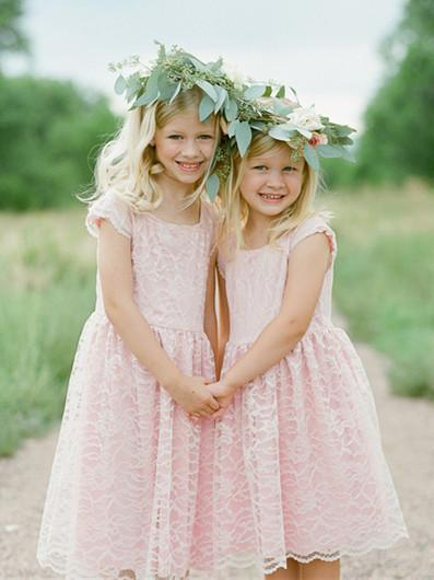 BohoProm Flower Girl Dresses Delicate Lace Scoop Neckline Cap Sleeves Knee-length A-line Flower Girl Dresses FD015