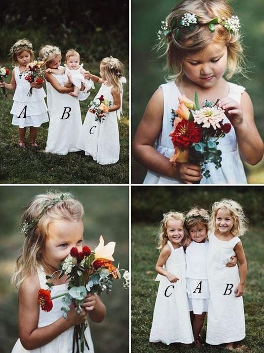 BohoProm Flower Girl Dresses Elegant Lace Scoop Neckline Multi Choice A-line Flower Girl Dresses With Pleats FD002