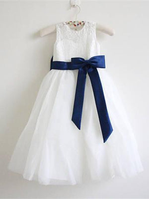 BohoProm Flower Girl Dresses Elegant Lace & Tulle Jewel Neckline Ankle-length A-line Flower Girl Dresses FD064