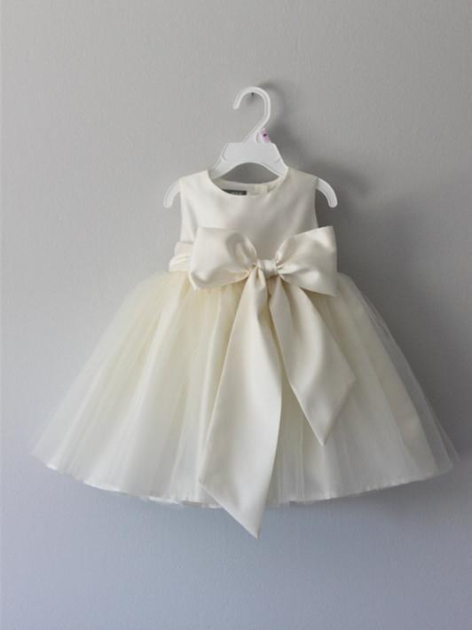 2c3aa2dcbae Excellent Tulle   Satin Jewel Neckline Ball Gown Flower Girl Dresses FD060