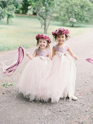 BohoProm Flower Girl Dresses Exquisite Tulle Jewel Neckline Floor-length Ball Gown Flower Girl Dresses FD022