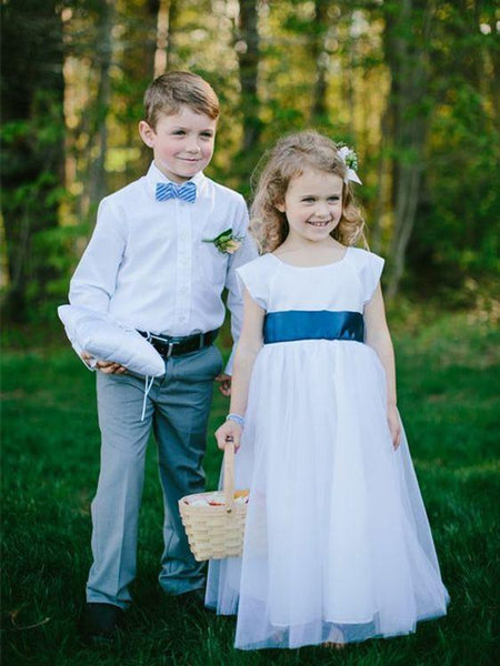 BohoProm Flower Girl Dresses Fabulous Tulle Scoop Neckline Cap Sleeves Floor-length A-line Flower Girl Dresses FD025