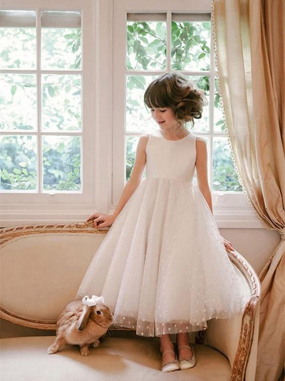 BohoProm Flower Girl Dresses Glamorous Tulle Jewel Neckline Ankle-length A-line Flower Girl Dresses FD017