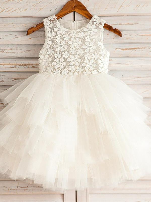 BohoProm Flower Girl Dresses Gorgeous Lace & Tulle Jewel Neckline Short A-line Flower Girl Dresses FD081