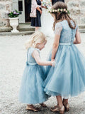 BohoProm Flower Girl Dresses Gorgeous Lace & Tulle Jewel Neckline Tea-length A-line Flower Girl Dresses FD050