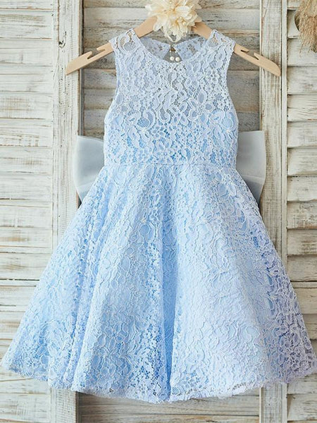 BohoProm Flower Girl Dresses Graceful Lace Jewel Neckline Knee-length A-line Flower Girl Dresses FD078