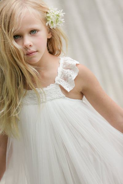 BohoProm Flower Girl Dresses Graceful Tulle & Lace Scoop Neckline Ankle-length A-line Flower Girl Dresses FD010