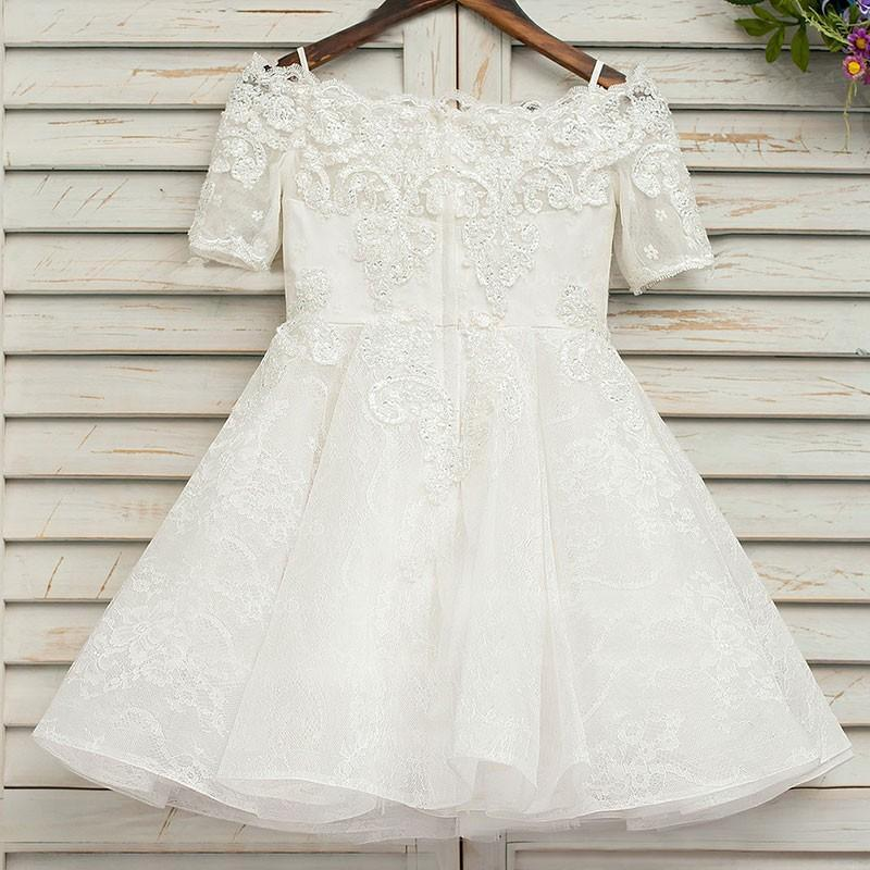 BohoProm Flower Girl Dresses Marvelous Lace Off-the-shoulder Neckline Short A-line Flower Girl Dresses FD083