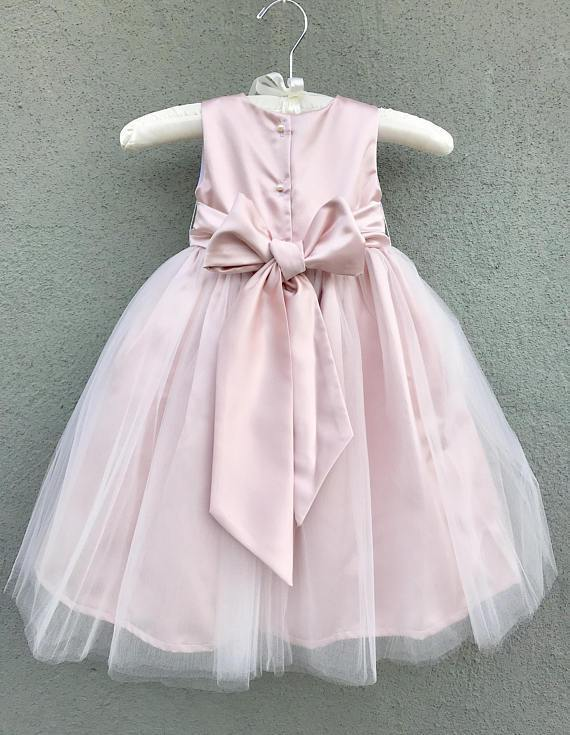 BohoProm Flower Girl Dresses Modern Tulle & Satin Jewel Neckline knee-length Ball Gown Flower Girl Dresses FD041