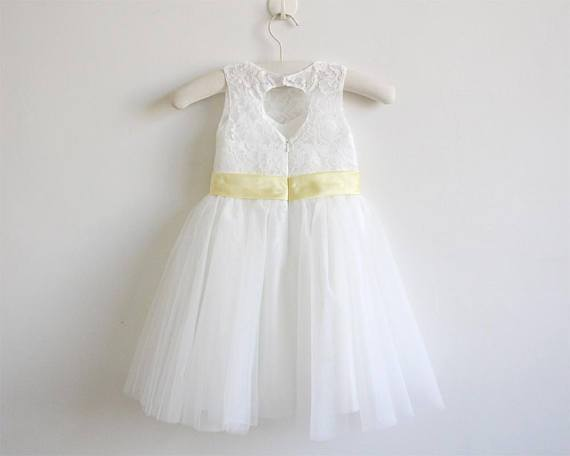 BohoProm Flower Girl Dresses Modest Lace & Tulle Jewel Neckline Short Length A-line Flower Girl Dresses FD065