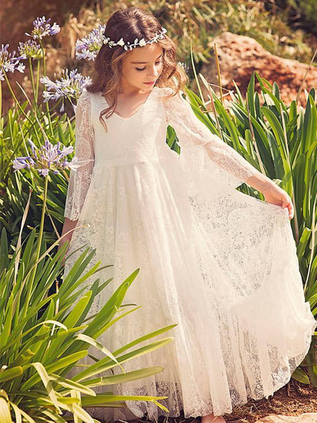 BohoProm Flower Girl Dresses Modest Lace V-neck Neckline 3/4 Sleeves Floor-length A-line Flower Girl Dresses FD007