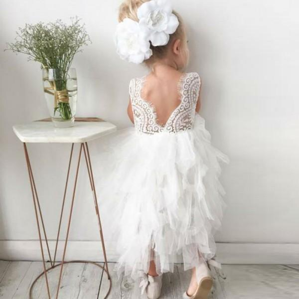 BohoProm Flower Girl Dresses Popular Lace & Tulle Scoop Neckline Tea-length Ball Gown Flower Girl Dresses FD077