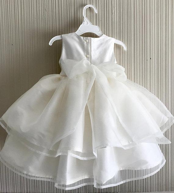 BohoProm Flower Girl Dresses Pure Satin Jewel Neckline Knee-length Ball Gown Flower Girl Dresses FD037