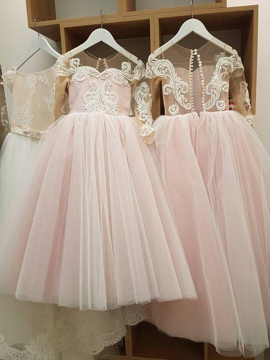BohoProm Flower Girl Dresses Romantic Tulle Jewel Neckline Ball Gown Flower Girl Dresses With Appliques FD029