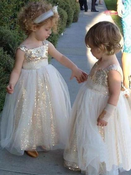 BohoProm Flower Girl Dresses Shimmering Sequin Lace & Tulle Square Neckline Ball Gown Flower Girl Dresses FD030