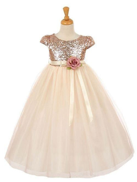 BohoProm Flower Girl Dresses Shining Sequin Lace & Tulle Scoop Neckline Ball Gown Flower Girl Dresses FD045
