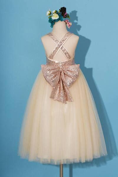 BohoProm Flower Girl Dresses Sparkly Sequin Lace & Tulle Scoop Neckline Floor-length Ball Gown Flower Girl Dresses FD042