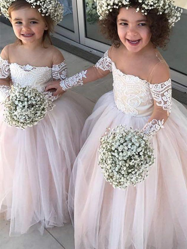 BohoProm Flower Girl Dresses Stunning Tulle Jewel Neckline Floor-length Ball Gown Flower Girl Dresses FD080