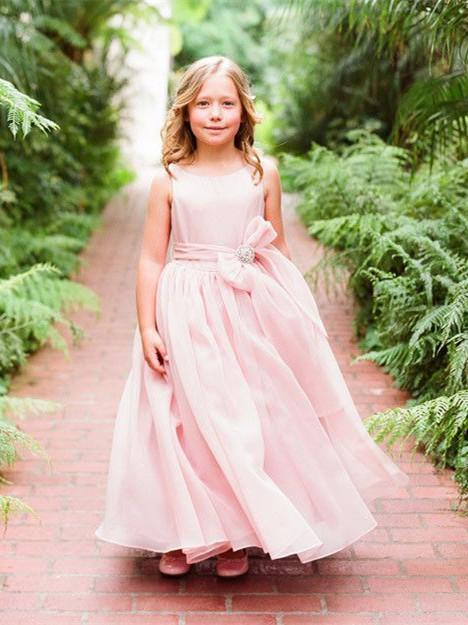 BohoProm Flower Girl Dresses Sweet Chiffon Scoop Neckline Floor-length A-line Flower Girl Dresses FD035
