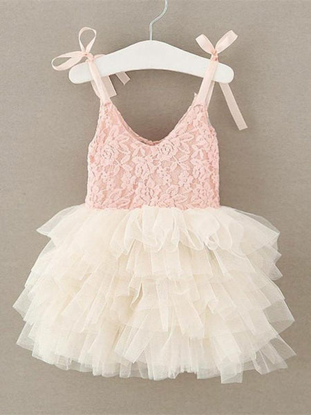 BohoProm Flower Girl Dresses Sweet Lace & Tulle Spaghetti Straps Neckline Short Ball Gown Flower Girl Dresses FD082