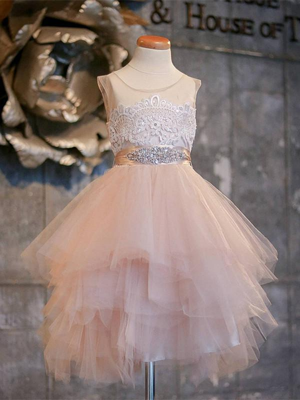 BohoProm Flower Girl Dresses Sweet Tulle Jewel Neckline Short A-line Flower Girl Dresses With Beadings FD084