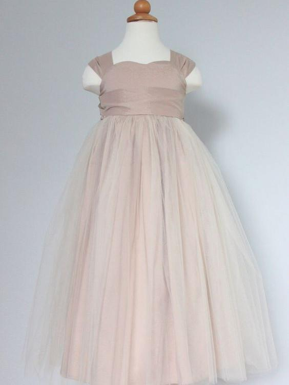 BohoProm Flower Girl Dresses Sweet Tulle & Satin Square Neckline Floor-length A-line Flower Girl Dresses FD044