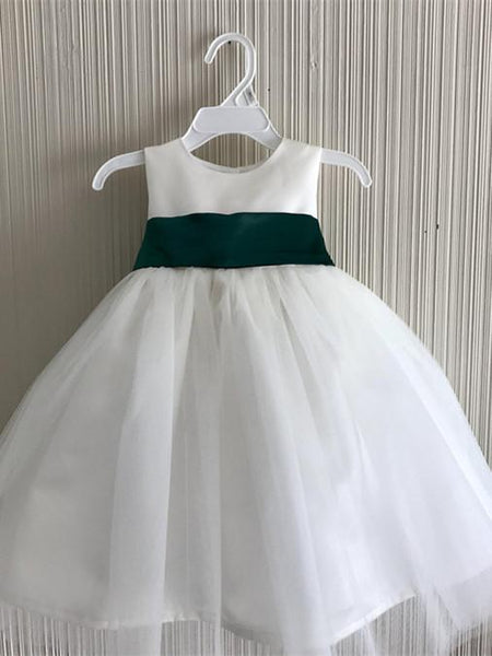 BohoProm Flower Girl Dresses Unique Tulle & Satin Jewel Neckline knee-length Ball Gown Flower Girl Dresses FD039